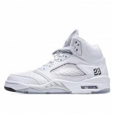 Jordans 5 Retro Metallic White Shoes